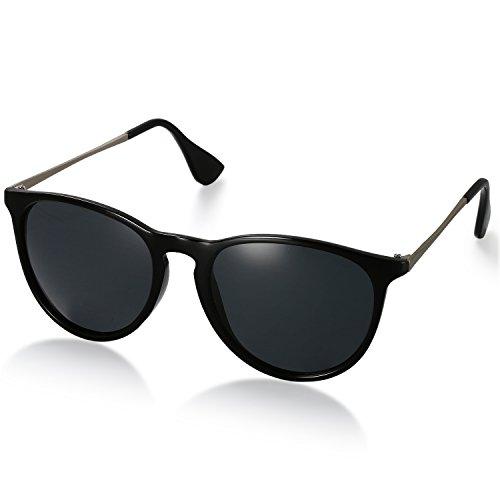 Aroncent Unisex Retro Sonnenbrille Metallrahmen Fliegerbrille Polarisierte Sonnenbrille Verspiegelt Pilotenbrille UV400 Schutzbrille für Damen und Herren, Schwarz