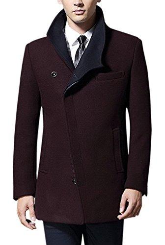 La vogue-sottile giacca invernale uomo classico cappotto di lana busto 106cm vino rosso