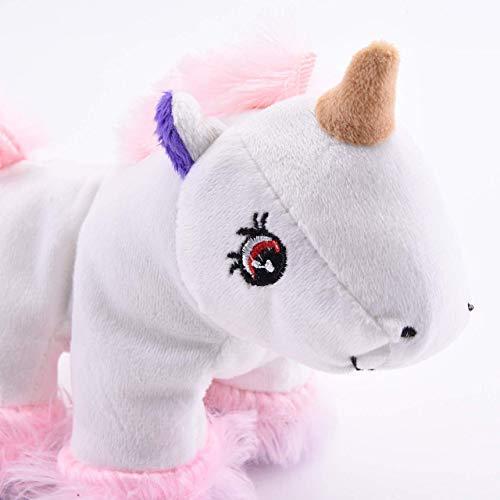 FamilyZoo | Einhorn Katzenspielkissen | Baldrian | Schmusekissen | Katze | weiß und rosa Schmuseplüsch | 18x14x5cm