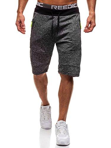 Herren-sportlichen Stil Short (BOLF Herren Kurzehose Sporthose Sportlicher Stil RED FIREBALL W1076 Schwarz L [7G7])