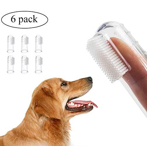 Cutebao Haustier Hund Zahnbürste Finger Handschuh Hundezahnbürste Fingerzahnbürste für Hunde Katzen Zahnpflege Fingerlinge Bürste Weich Pet Zahnstein Pinsel 6 Stück