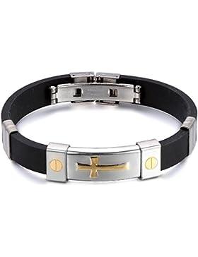 JewelryWe Schmuck Edelstahl Armband mit schwarzem Gummi, Gold/Silber Kreuz Design, Partnerarmband Damen Herren...