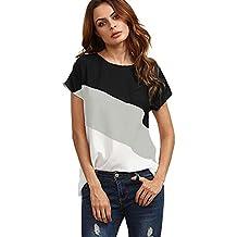LEvifun Maglietta Donna Manica Corta a Blocco di Colore Chiffon Sciolto Estate T-Shirt Cime Camicie Tops Blusa