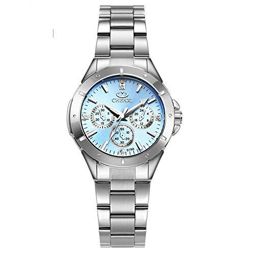 Ynyn donna orologio al quarzo acciaio inossidabile semplice impermeabile orologio da polso ms. lussuoso con luminoso guarda orologio da studente,blue
