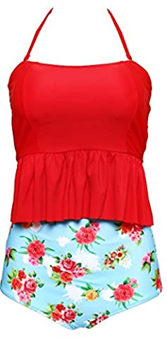 Anmengte Womens Halter High Waist Tankini Two Piece Swimsuits (M, Red Blue)