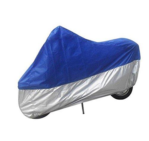 Chytaii Housse de Protection Couverture de Moto Pliable Imperméable Protection Contre Soleil / Pluie / Neige Bleu et Gris