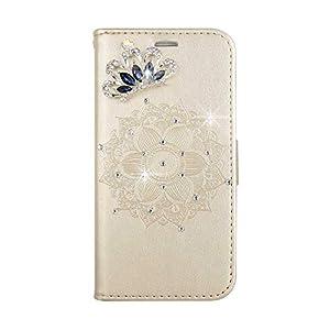 Bear Village® Leder Galaxy A5 2017 Hülle, Leder Tasche mit Magnetverschluss und Kartenfach, Glitzer Geprägte Schutzhülle für Samsung Galaxy A5 2017, Gold