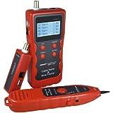 DEHANG - Medidor Comprobador Tester Electrónico de Cables de Red LAN Teléfono Ethernet USB coaxial 1200m RJ45 RJ11 BNC, Rojo