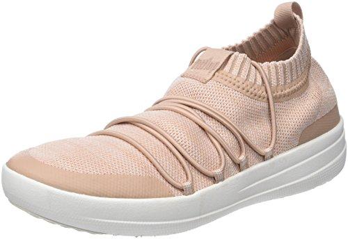 FitFlop Damen Uberknit Slip-ON Ghillie Sneakers Hohe Sneaker, Multicolour (Neon Blush/Urban White), 40 EU - Urban Blush