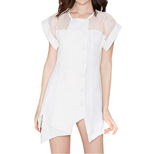 QIYUN.Z Femmes Manches Courtes Ourlet Irreguliere Double Boutonnage Maille Patchwork Robe Blanche Blanc