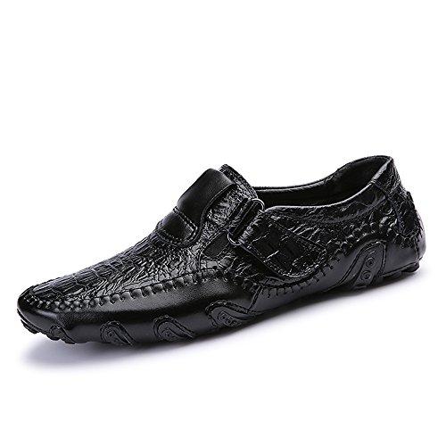 Herren Slipper Elegant Leder Schuhe Business Schwarz