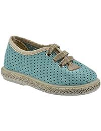Zapato Casual en Piel herraje Color Aguamarina y Piso de Yute
