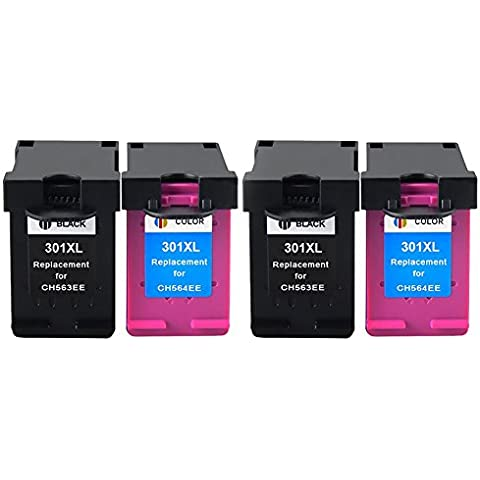 Bosumon 2 Set Compatible 301XL 301 XL negro y color cartucho de tinta (la última V1 chip) Compatible para Deskjet 1000, 1010, 1050, 1055, 1510, 1512, 1514, 2000, 2050, 2054a, 2510, 2514, 2540, 2542, 2544, 3000, 3050, 3050se, 3052 A, 3054a, 3055, 3059a, Officejet 2620, 2622, 2624, 4630, 4632, 4634, 4636, Envy 4500, 4502, 4504, 4505, 4507, 5530, 5532, 5534, 5539 e All-in-One, color