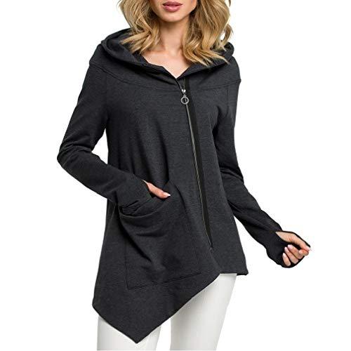 Energy Womens Front-Zip Tops Outwear Long-Sleeve Loose Hoodies Sweater Dark Grey S Dragon Womens Zip Hoodie
