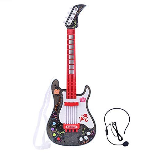 MRKE Guitarra Electrica Niños con Microfono Rock Juguete de Instrumentos Musicales para Infantil Niño y Niña 3-8 Años (1)