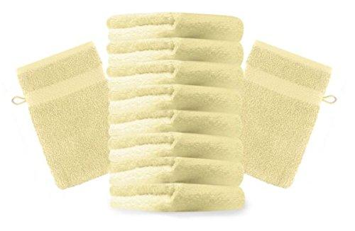 Betz lot de 10 gants de toilette taille 16x21 cm 100% coton Premium couleur jaune clair