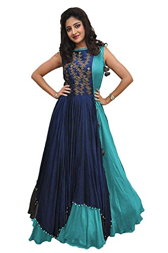 7 Horse selection Women\'s Banglory SKY Blue Gown With Jacket for Party Wear Dress (SKY BLUE_FREE_SIZE)