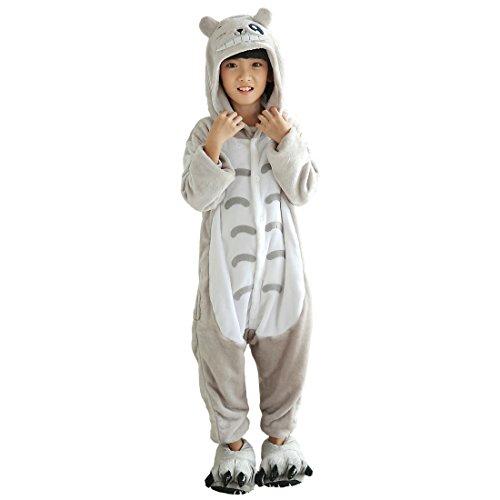 anzug Onesie Jumpsuits Tier Pyjama Hausanzug Flanell Kostüme mit Schuhe (Totoro Kinder Kostüm)
