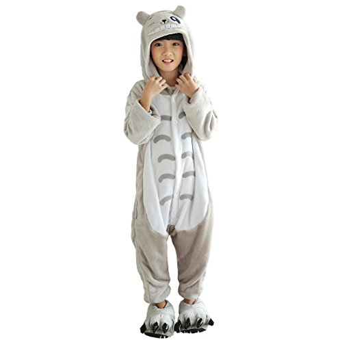 Totoro Kostüm Kinder - Cool&D Kinder Schlafanzug Onesie Jumpsuits Tier Pyjama Hausanzug Flanell Kostüme mit Schuhe