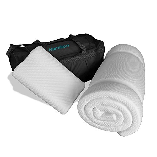 Prima Comfort Travel Memory Foam Mattress Topper plus Pillow - The Hamilton -7 DAY MONEY BACK GUARANTEE!!! includes Memory Foam Travel Pillow and holdall bag! (Mattress 190cm x 70cm x 3.5cm) 2
