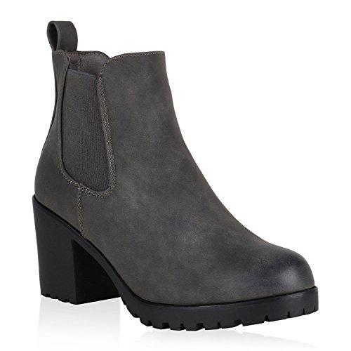 Damen Stiefeletten Leicht Gefütterte Chelsea Boots Blockabsatz 148716 Grau Grey Avelar 37 Flandell