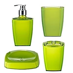 ridder 229928050 350 bad accessoires set neon gr n 4 tlg k che haushalt. Black Bedroom Furniture Sets. Home Design Ideas