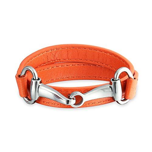 Bling Jewelry Orange Aus Echtem Leder Pferd Bit Cow Equestrian Wickelarmband Für Damen Für Jugendlich Edelstahl -