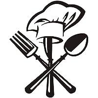 Adesivi murali in vinile cucina rimovibile da tavola con un cappello da  cuoco decalcomania diy adesivi 88c53477ca47