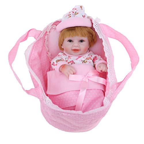 D DOLITY 28cm Neugeborenen Baby Puppe Silikon Weichpuppe mit Schlafsack, Kissen und Deckbett Spielzeug für Kinder - Pink (Kinder Schlafsack Mit Kissen)