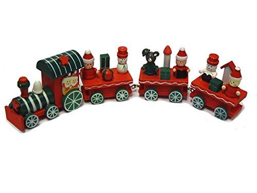 Takestop® treno trenino di legno natale con carrozze 3 vagoni 21 cm natalizio decorazione babbo pupazzo giocattolo bambini fantasia casuale