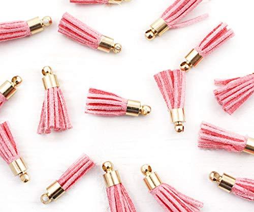 6pcs Pink Faux Wildleder Samt Quasten-Ohrring-Halsketten-Anhänger-Charme Mit Gold Kappe 18mm -