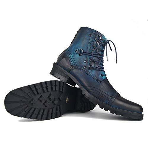 JIAHE Botas para Hombre Botas con Cremallera Botas de Cuero Genuino Botas Martin de Gran tamaño Zapatos de Marea Calzado de Locomotora Botas de Vaquero Casual Punk,US11