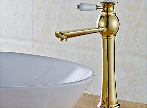 LHbox Bad Armatur in Bad für Waschbecken Waschtisch Wasserhahn Waschtischarmatur Euro-kupferoberfläche Waschtisch Armatur Waschbecken Kaltes Wasser Gold Armaturen Tippen