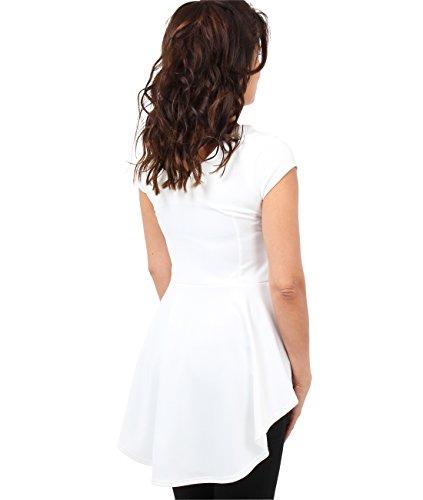 KRISP® Damen Modisches Schößchen Top Elegante Bluse Cremeweiß (6734)