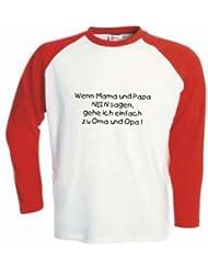 Kinder Baseball T-Shirt langarm Wenn Mama und Papa nein sagen, gehe ich einfach zu Omaq und Opa / Größe 92 - 162