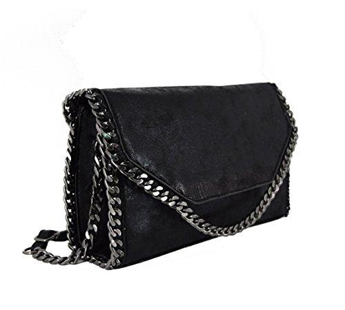 CRAZYCHIC - Borsa a tracolla donna con Catena nera - Imitazione Metallico luccichio Pelle - Catena sul contorno della patta - Clutch pochette borsetta de sera alla moda ragazza Nero