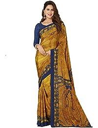 Ligalz Women's Crepe Silk Saree (L0111178, Yellow, Blue, Free Size)