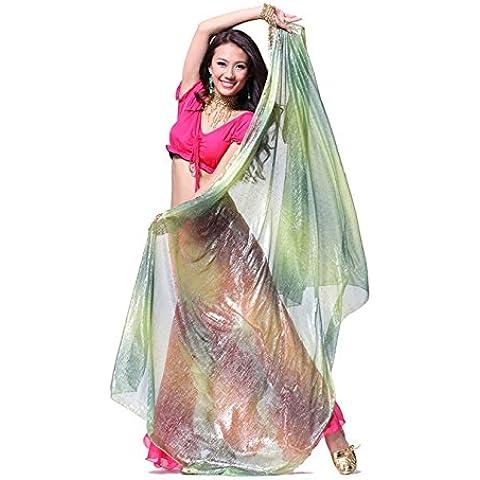 210x 110cm lndian baile danza del vientre pendiente cristal hilo mano teñida de seda velo