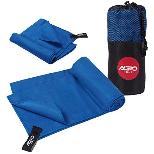 AlpoHome Mikrofaser Handtücher im 2er Set mit Tragetasche. 140 x 70 und 80 x 40. Sporthandtuch, Reisehandtuch. Saugfähig, Schnelltrocknend, Ultraleicht.