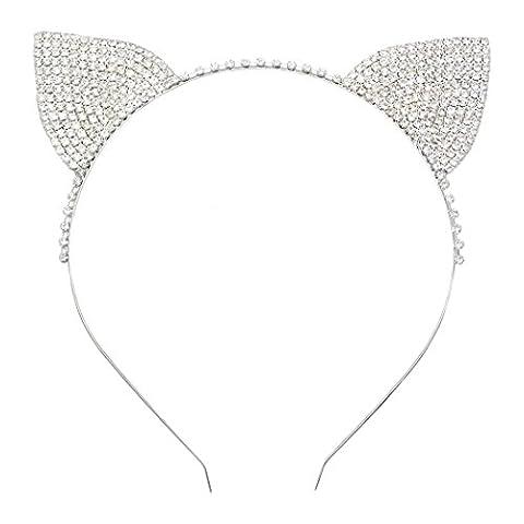 Rosemarie Kollektionen Damen-Halloween-Kostüm Kristall Katze Ohren Stirnband (Kostüm Idee)
