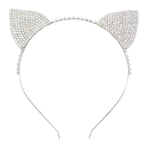 Rosemarie Kollektionen Damen-Halloween-Kostüm Kristall Katze Ohren Stirnband (Ideen Für Eine Katze Kostüm)