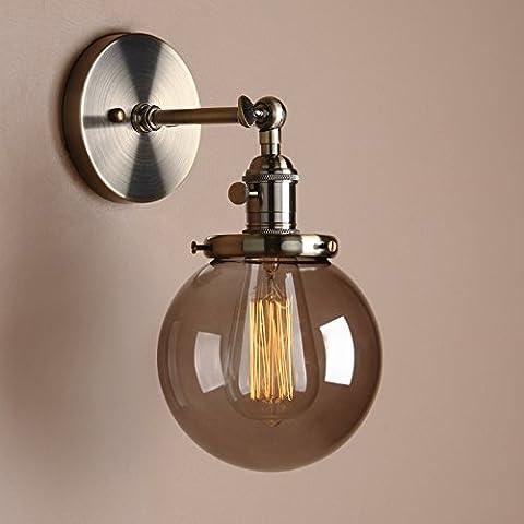 Pathson Antik Deko Design Kleine Kugel Grau Glas innen Wandbeleuchtung Wandleuchten Loft-Wandlampen Wandbeleuchtung (Bronze