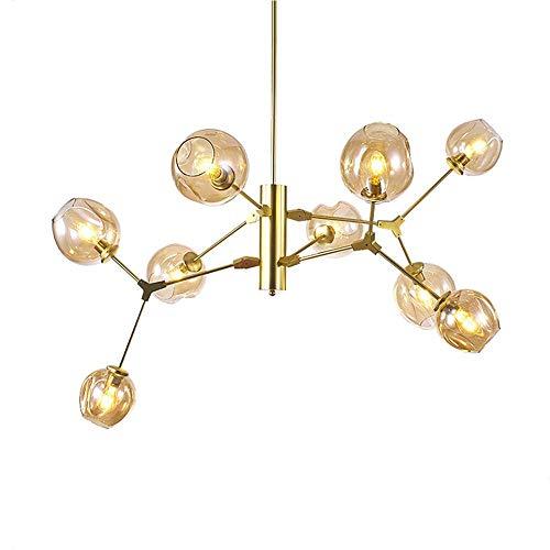 ZYY Nordic Gold Chandelier DNA Molecule Espiga Rama Techo Colgante Luz Color seco Burbuja Vidrio Sombra Droplight Vintage Loft Hierro Forjado Lámpara Colgante Decoración Dormitorio Vestíbulo