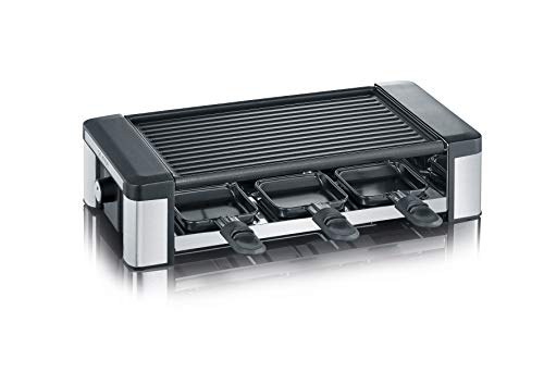 Severin RG 2676 - Raclette grill, 6 personas, 850 W, acero inoxidable, color negro