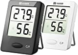 Habor Room Thermometer, Humidity Meter, Hygrometer, Monitor Temperature and Humidity Meter for Home, Office, Baby Nursery Room Comfort (2.3 X 1.8 Inch), 2 Units Black&White