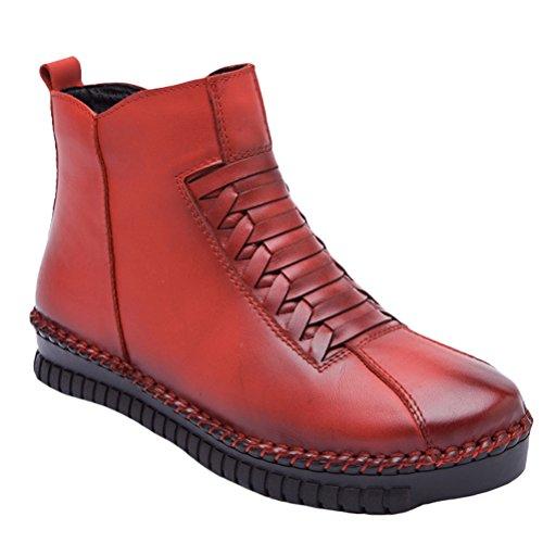 Vogstyle Damen Leisure Retro Stiefel Weiches Leder Leisure retro Stiefeletten Style 2-Red