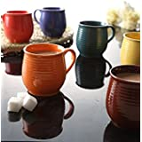 Pratham Enterprises Kuller Multi Color Glossy Finish Tea Coffee Cups Speckled Mugs - Set Of 6