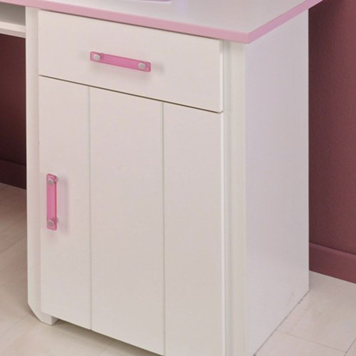 Pharao24 Schreibtisch für Kinder Kinderschreibtisch weiss rosa Lilith