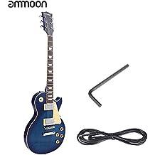ammoon Guitarra Eléctrica 6 Cuerda Solid Wood Brims 23 Trastes Cuerpo de Tilo Doble Bobina de Recogida y Trémolo &El control del Ritmo con Cable Pickguard 6.35mm