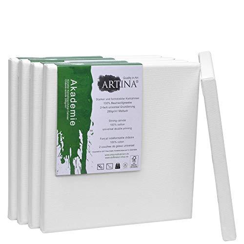 Artina FSC Keilrahmen Akademie 20x20 cm 5er Set - Quadratisch klein - Leinwand aus 100% Baumwolle Keilrahmen weiß - 280g/m²